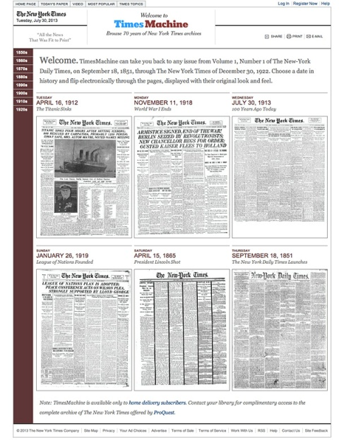 New York Times Time Machine